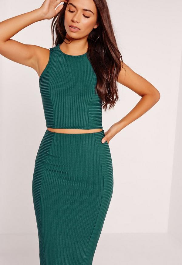 Ribbed Crop Top Green