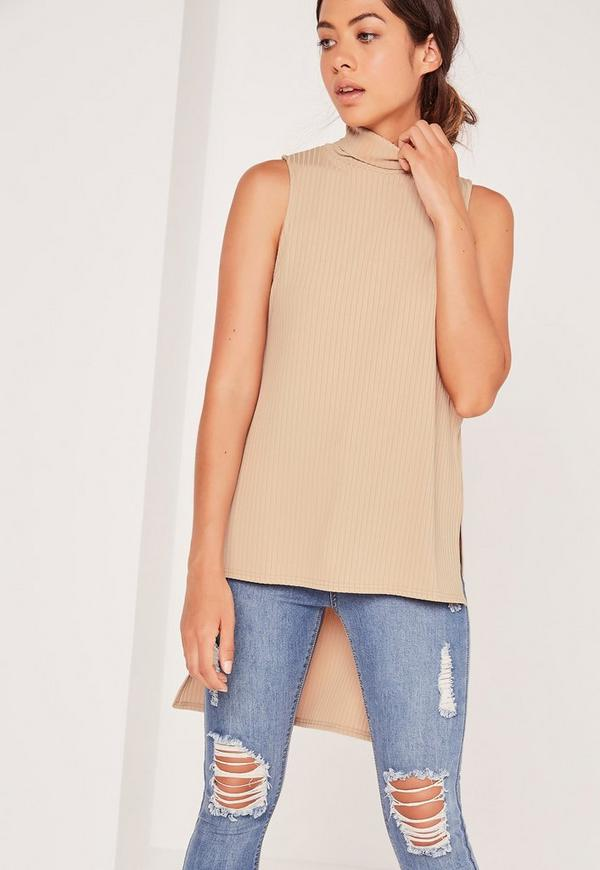 Split Side Roll Neck Tunic Camel