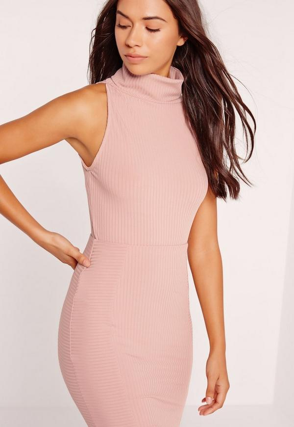 Rib Roll Neck Bodysuit Pink