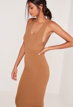 Ribbed Scoop Back Bodysuit Camel