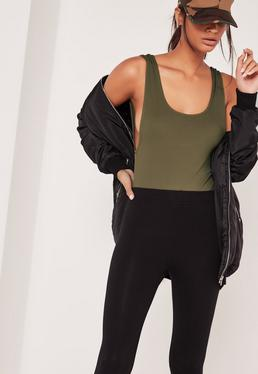 Ribbed Scoop Back Bodysuit Khaki