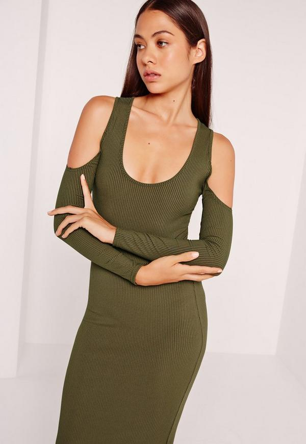 Ribbed Long Sleeved Cold Shoulder Bodysuit Khaki