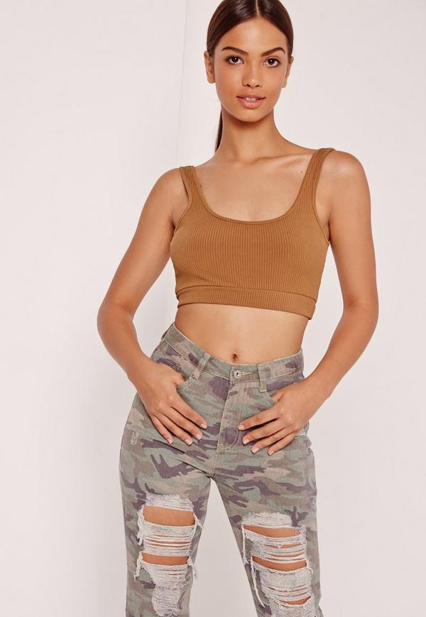 Ribbed Band Crop Top Nude
