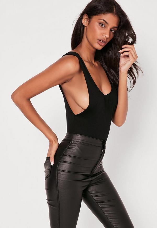 Scoop Back Bodysuit Black