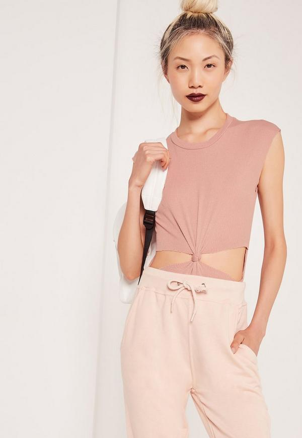 Knot Front Ribbed Cut Out Bodysuit Pink