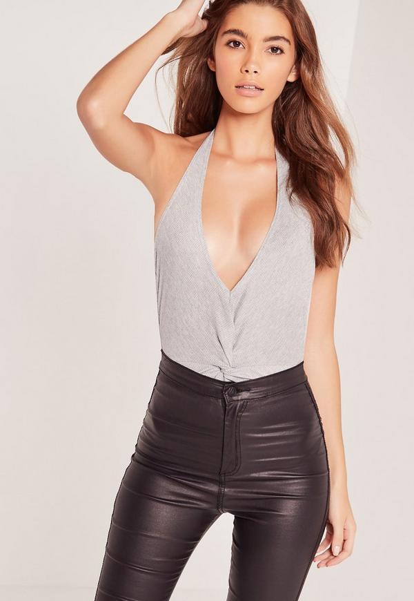 Grey Halterneck Twist Front Bodysuit