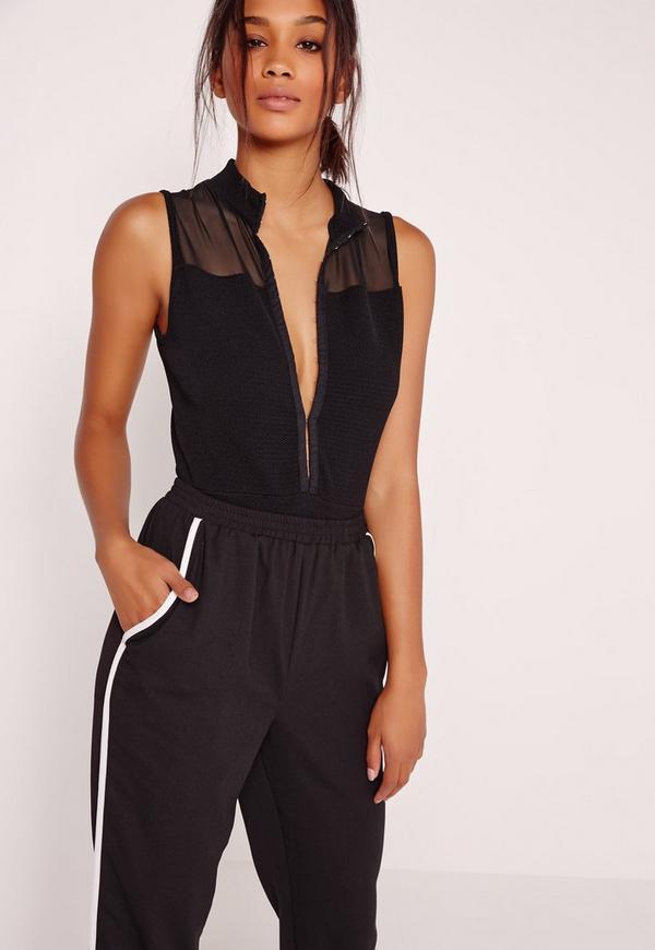 High Neck Sleeveless Bandage Bodysuit Black