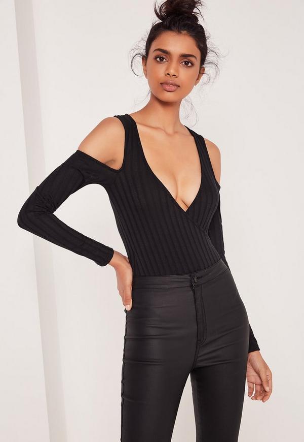 Wrap Front Cold Shoulder Bodysuit Black