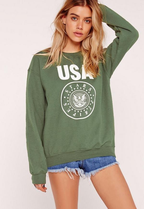 USA Stars and Stripes Sweatshirt Green