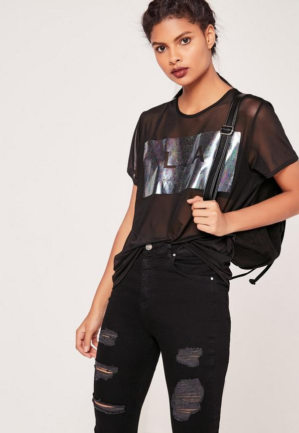 LA Metallic Print Mesh T Shirt Black