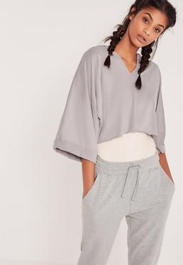 Faux Suede Hooded Oversized Top Grey