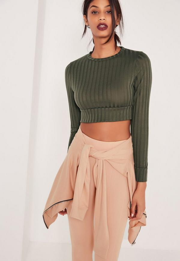 Long Sleeved Ribbed Crop Top Khaki