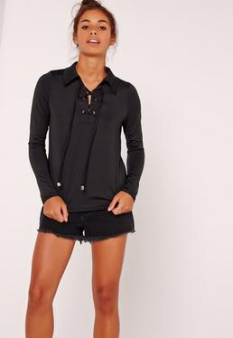 Collar Detail Sporty Lace Up Top Black