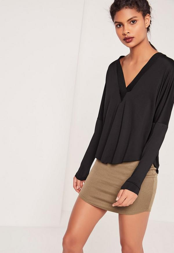 V Neck Long Sleeve Top Black