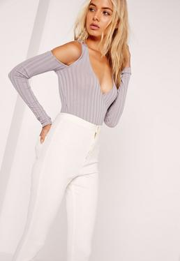 Wrap Front Cold Shoulder Bodysuit Grey