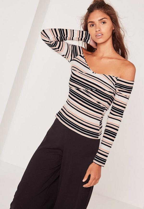 Wrap Detail Bardot Stripe Ribbed Top Pink