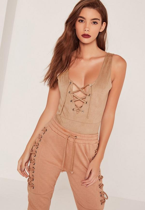 Faux Suede Lace Up Bodysuit Brown