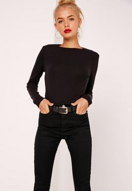 Crew Neck Ribbed Top Black