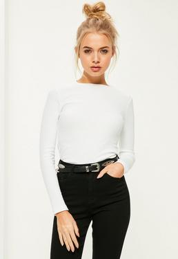 Crew Neck Ribbed Top White