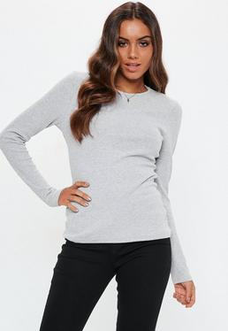 Crew Neck Ribbed Crop Top Grey