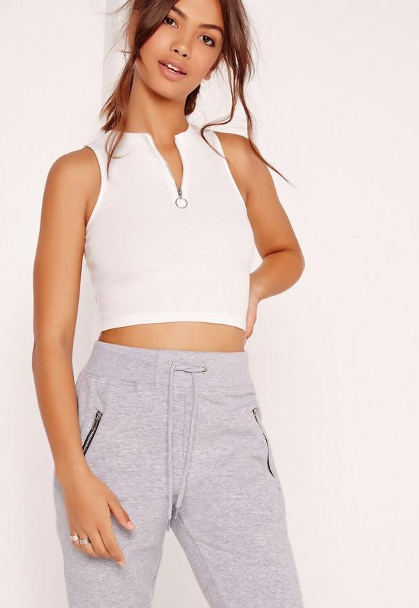 ring pull zip crop top white missguided. Black Bedroom Furniture Sets. Home Design Ideas