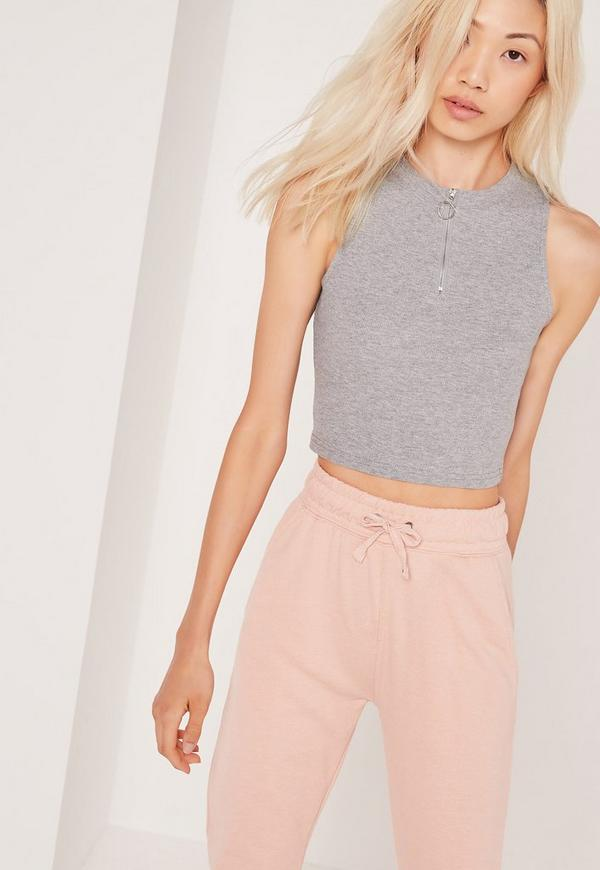 Ring Pull Zip Crop Top Grey