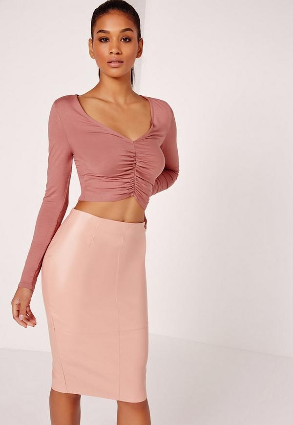 Gather Front Plunge Crop Top Pink