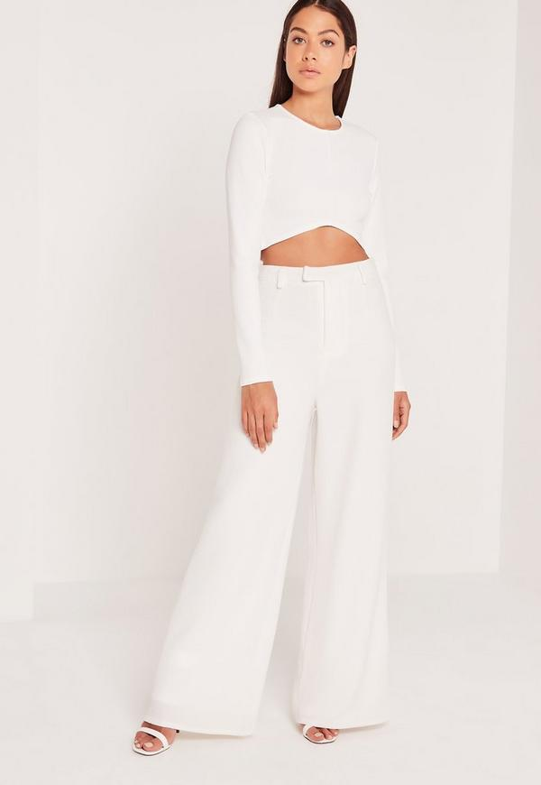 V Hem Crop Top White