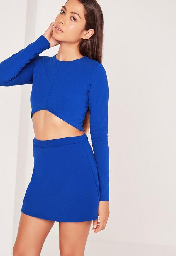 V Hem Crop Top Cobalt Blue