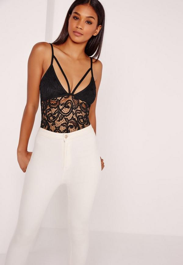 Lace Harness Strap Detail Bodysuit Black