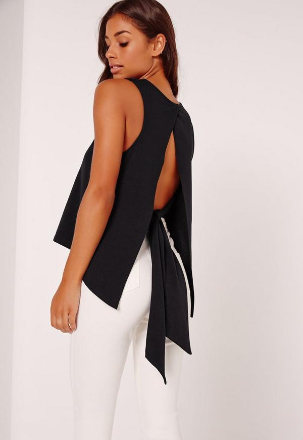 Tie Back Plunge Vest Black
