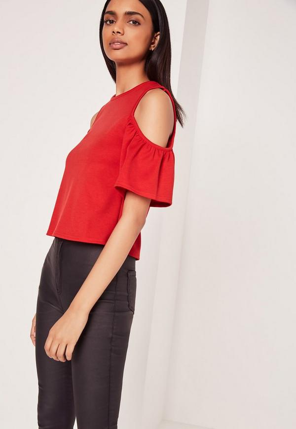 Frill Cold Shoulder Top Red