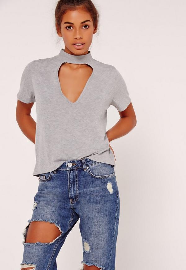 Choker T Shirt Grey