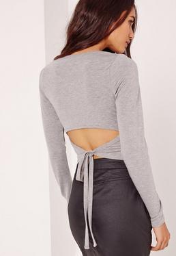 Open Tie Back Top Grey