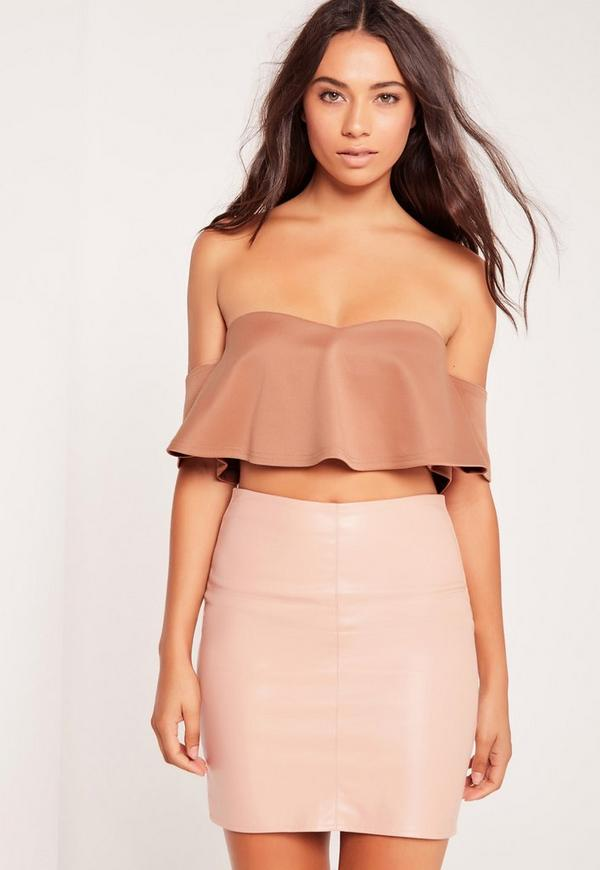 Frill Bardot Crop Top Nude