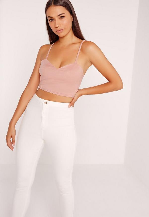 Suedette Cami Crop Top Pink