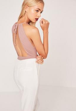 Ribbed High Neck Open Back Bodysuit Pink