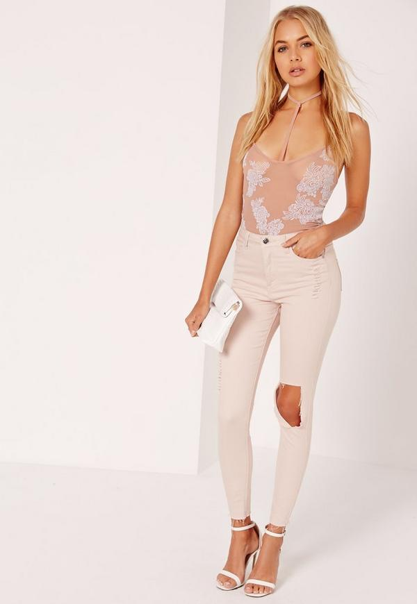Harness Flock Cami Bodysuit Nude