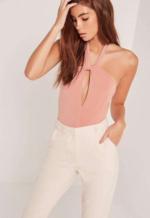 Slinky Twist Neck Bodysuit Pink