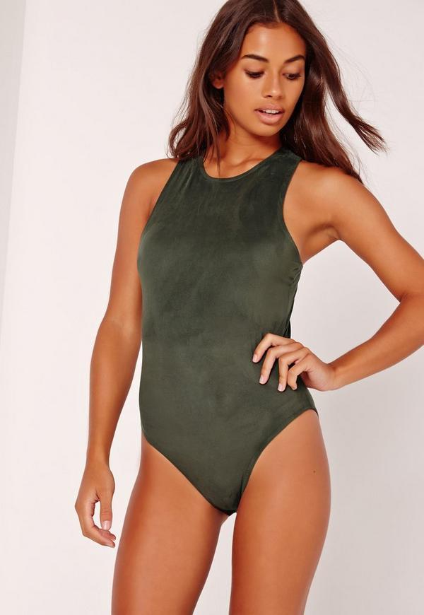Suedette Racer Bodysuit Green