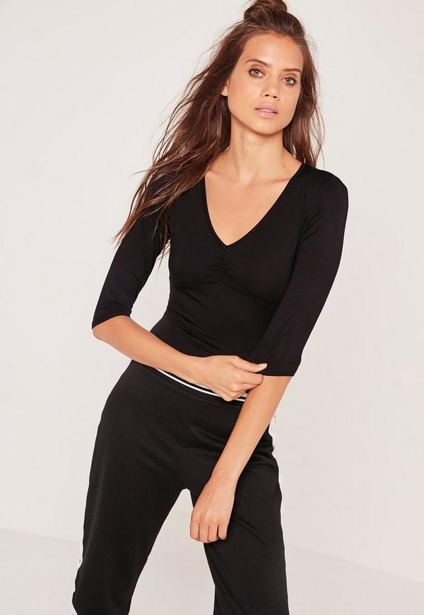Gather Plunge Jersey Bodysuit Black