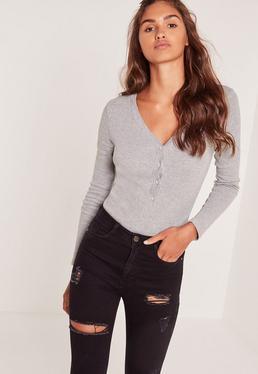 Rib Long Sleeve Button Front Bodysuit Grey