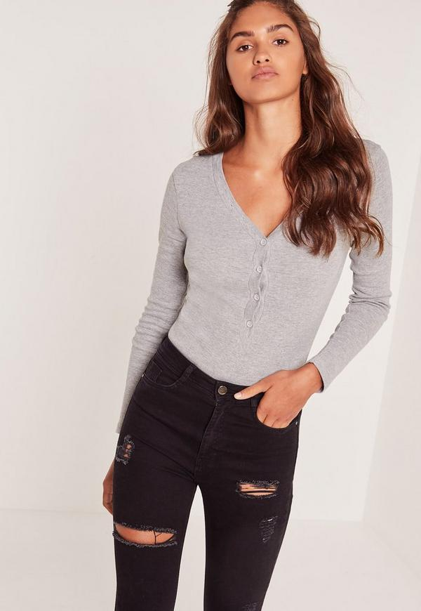 Rib Long Sleeve Button Front Bodysuit Grey