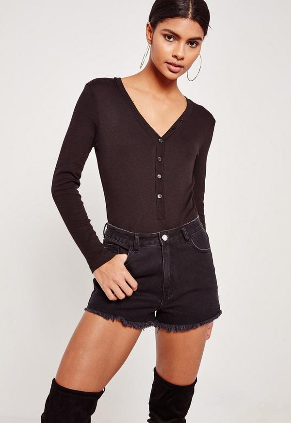 Black Ribbed Long Sleeve Button Front Bodysuit