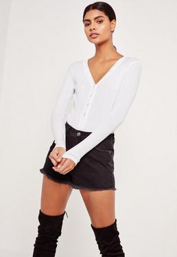 White Ribbed Long Sleeve Button Front Bodysuit
