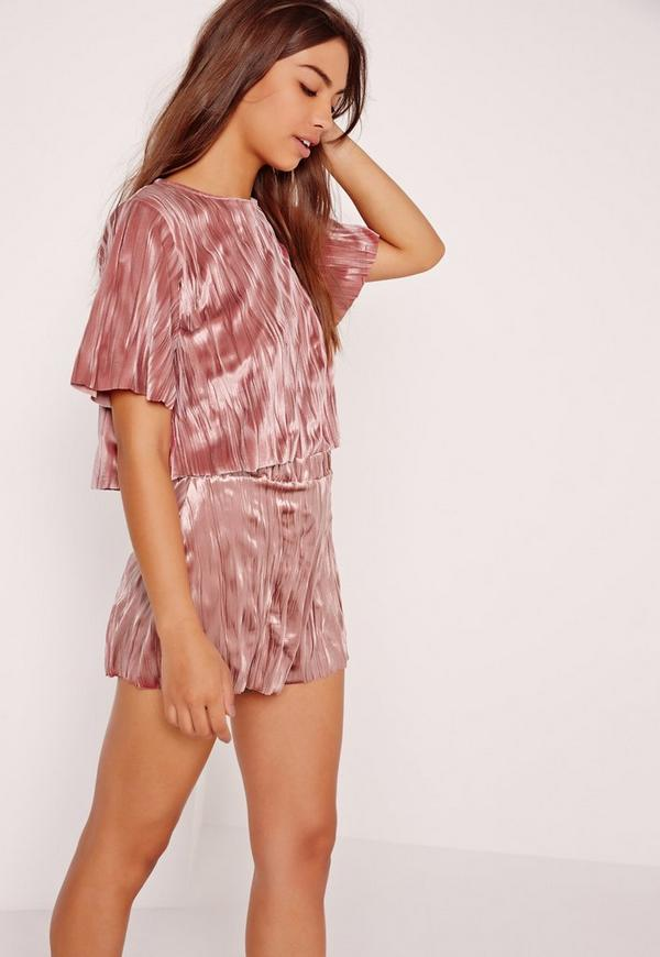 Pleated Velvet Crop Top Pink