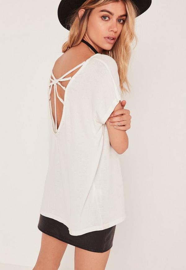 Strappy Ring Back Detail T Shirt White