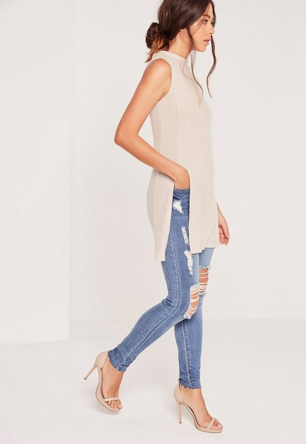 Ribbed High Neck Split Side Tunic Nude
