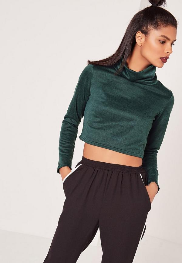 Roll Neck Crop Sweatshirt Green