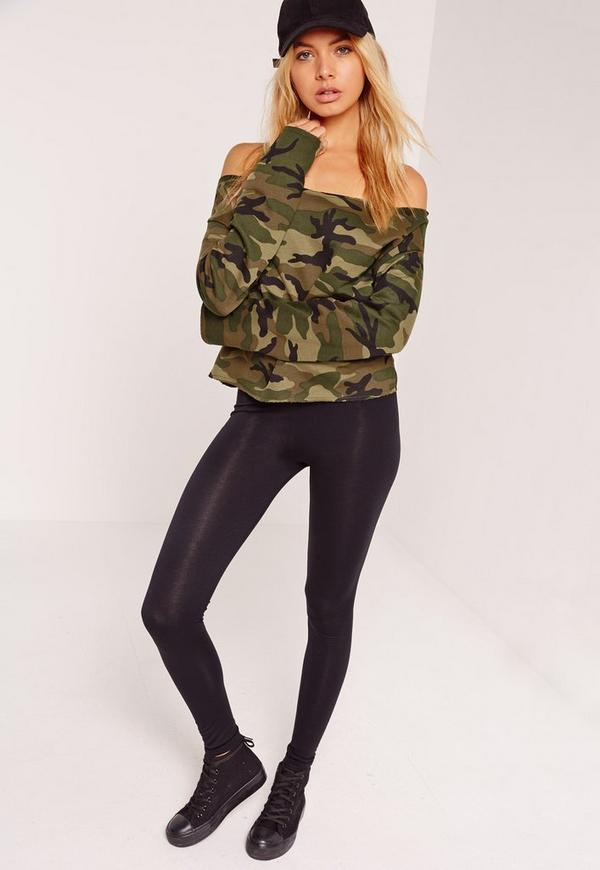 Bardot Camo Cropped Sweater Khaki | Missguided